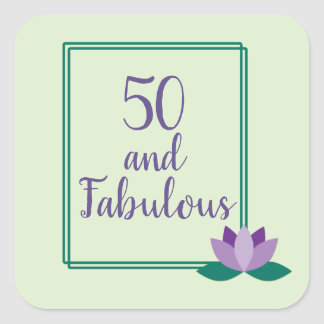 Elegant Green and Purple 50 and Fabulous Birthday Square Sticker