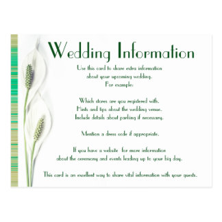 Elegant Green and White Calla Lily Floral Wedding Postcard