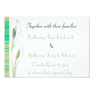 Elegant Green and White Calla Lily Wedding Card