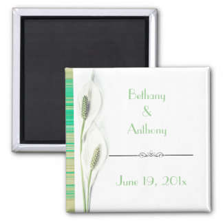 Elegant Green and White Lily Wedding keepsake Magnet