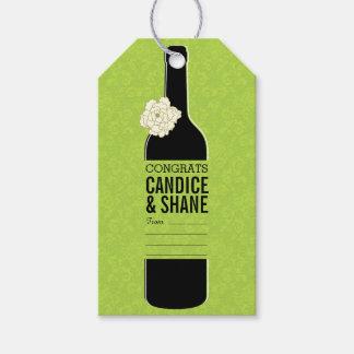 Elegant Green Black Wine Bottle Pack Of Gift Tags
