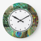 Elegant Green & Blue Peacock feather pattern Large Clock