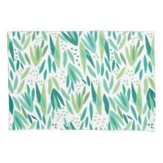 Elegant Green Botanical Leafs Pattern Pillowcase