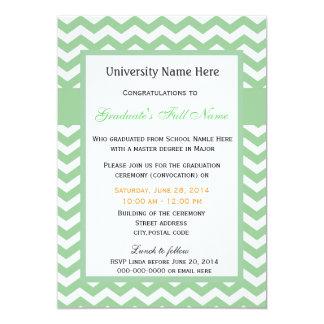 "Elegant green chevron graduation ceremony 5"" x 7"" invitation card"