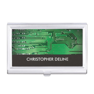 Elegant Green Computer Circuit Board HighTech Business Card Holder