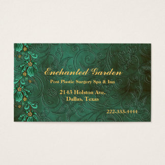Elegant Green Damask Custom Business Card