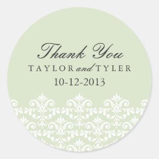 Elegant Green Damask Wedding Sticker