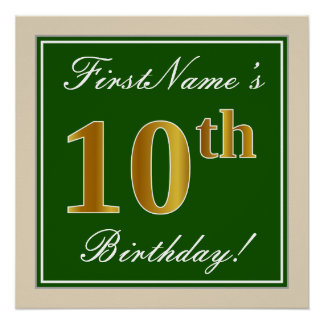 Elegant, Green, Faux Gold 10th Birthday + Name Poster