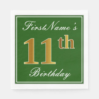 Elegant Green, Faux Gold 11th Birthday + Name Disposable Napkin