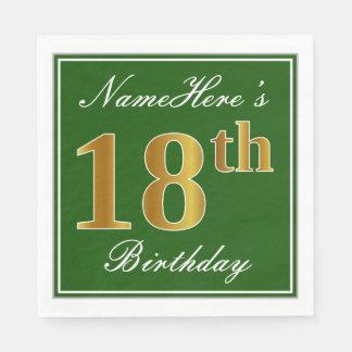 Elegant Green, Faux Gold 18th Birthday + Name Paper Napkin