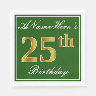 Elegant Green, Faux Gold 25th Birthday + Name Disposable Napkin
