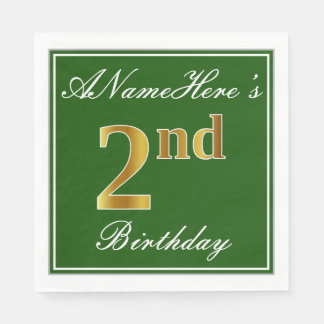 Elegant Green, Faux Gold 2nd Birthday; Custom Name Paper Napkins