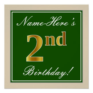Elegant, Green, Faux Gold 2nd Birthday + Name Poster