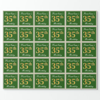 Elegant, Green, Faux Gold 35th Birthday + Name Wrapping Paper