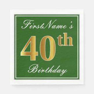 Elegant Green, Faux Gold 40th Birthday + Name Disposable Napkins