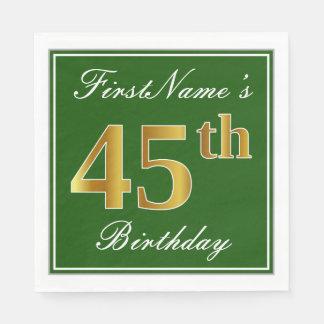 Elegant Green, Faux Gold 45th Birthday + Name Paper Napkin