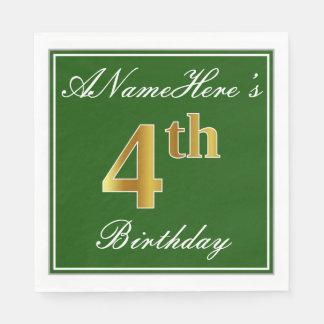 Elegant Green, Faux Gold 4th Birthday; Custom Name Disposable Napkins