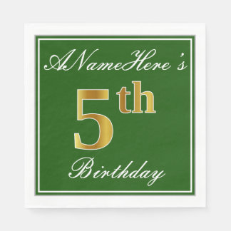 Elegant Green, Faux Gold 5th Birthday; Custom Name Disposable Napkin