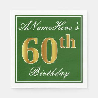 Elegant Green, Faux Gold 60th Birthday + Name Napkin