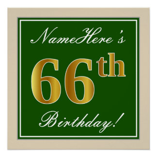 Elegant, Green, Faux Gold 66th Birthday + Name Poster