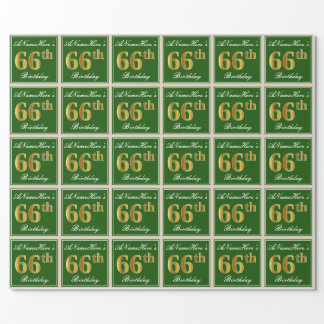 Elegant, Green, Faux Gold 66th Birthday + Name Wrapping Paper