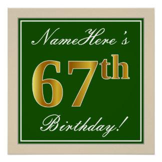 Elegant, Green, Faux Gold 67th Birthday + Name Poster