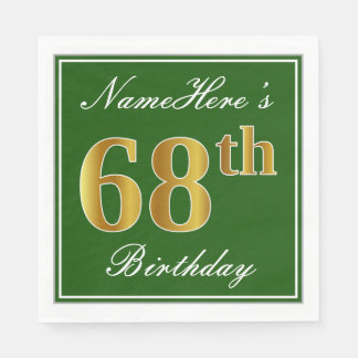 Elegant Green, Faux Gold 68th Birthday + Name Disposable Napkin