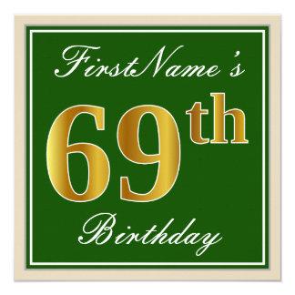 Elegant, Green, Faux Gold 69th Birthday + Name Card
