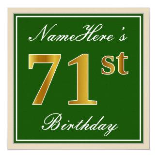 Elegant, Green, Faux Gold 71st Birthday + Name Card