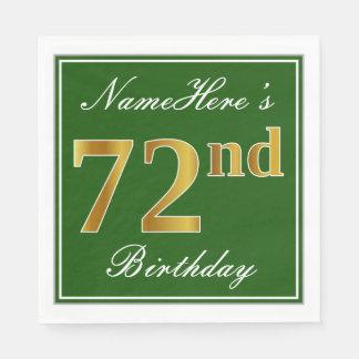 Elegant Green, Faux Gold 72nd Birthday + Name Disposable Napkins