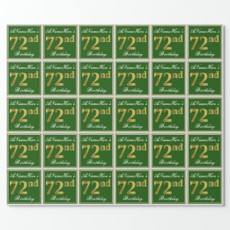 Elegant, Green, Faux Gold 72nd Birthday + Name Wrapping Paper