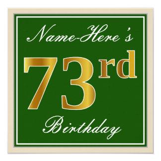 Elegant, Green, Faux Gold 73rd Birthday + Name Card