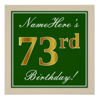 Elegant, Green, Faux Gold 73rd Birthday + Name Poster