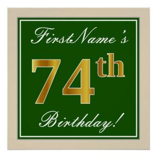 Elegant, Green, Faux Gold 74th Birthday + Name Poster