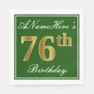 Elegant Green, Faux Gold 76th Birthday + Name Paper Napkins