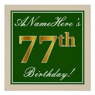 Elegant, Green, Faux Gold 77th Birthday + Name Poster
