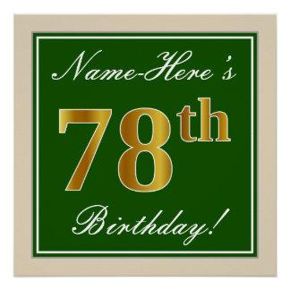 Elegant, Green, Faux Gold 78th Birthday + Name Poster