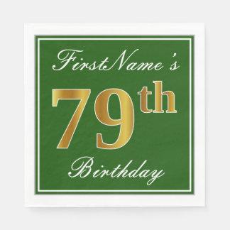 Elegant Green, Faux Gold 79th Birthday + Name Paper Napkins