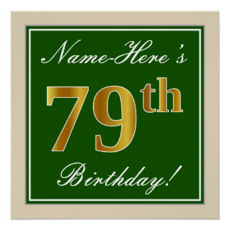 Elegant, Green, Faux Gold 79th Birthday + Name Poster