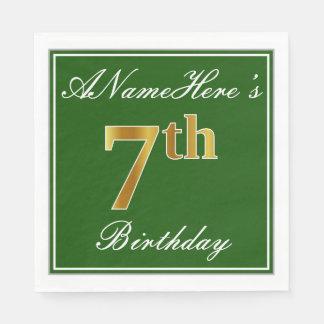 Elegant Green, Faux Gold 7th Birthday; Custom Name Paper Napkin