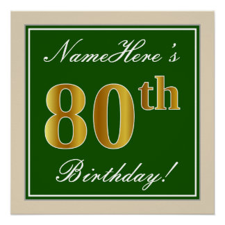 Elegant, Green, Faux Gold 80th Birthday + Name Poster
