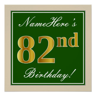 Elegant, Green, Faux Gold 82nd Birthday + Name Poster