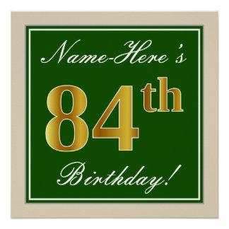 Elegant, Green, Faux Gold 84th Birthday + Name Poster