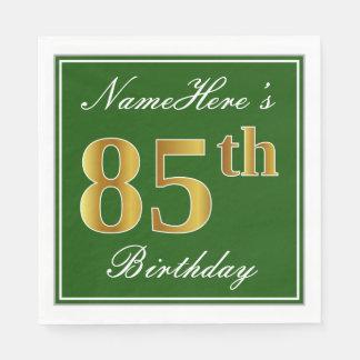 Elegant Green, Faux Gold 85th Birthday + Name Paper Napkin