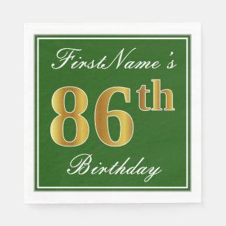 Elegant Green, Faux Gold 86th Birthday + Name Paper Napkin