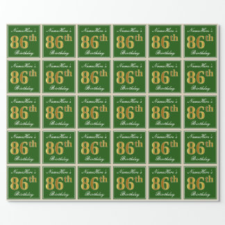 Elegant, Green, Faux Gold 86th Birthday + Name Wrapping Paper