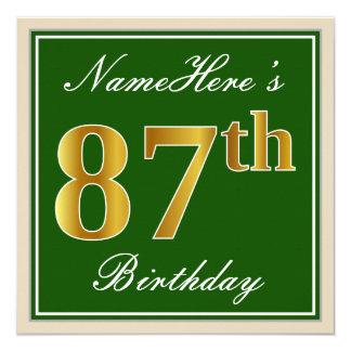 Elegant, Green, Faux Gold 87th Birthday + Name Card
