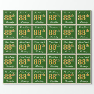 Elegant, Green, Faux Gold 88th Birthday + Name Wrapping Paper
