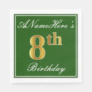 Elegant Green, Faux Gold 8th Birthday; Custom Name Disposable Napkins
