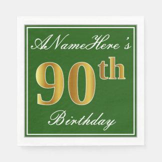Elegant Green, Faux Gold 90th Birthday + Name Disposable Napkins